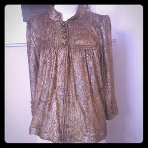LaRok Metalic Gold Cardigan Sweater 3/4 Sleeve L